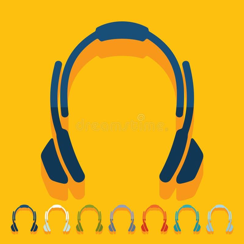 Vlak Ontwerp hoofdtelefoons vector illustratie