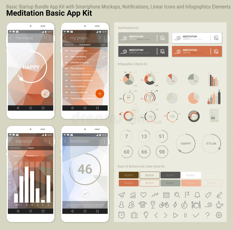 Vlak ontwerp ontvankelijke UI mobiel app en websitemalplaatje stock illustratie