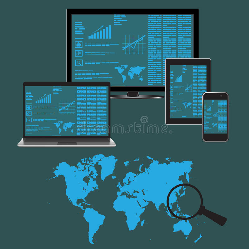 Vlak, ontwerp, plaats, analytics, elementen, vector, illustratie royalty-vrije illustratie