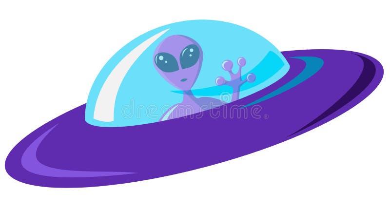 Vlak ontwerp purper vreemd ruimteschip met blauw glas Roze martian met reusachtige ogen zit in een schip en golft een groet Vecto vector illustratie