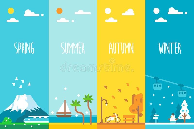 Vlak ontwerp 4 seizoenenachtergrond vector illustratie