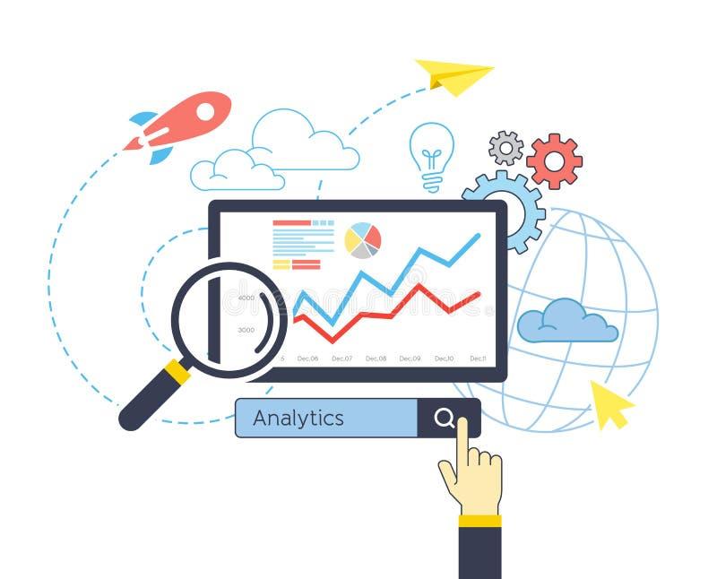 Vlak ontwerp van analitische de websiteseo optimalisering van de onderzoeksinformatie vector illustratie