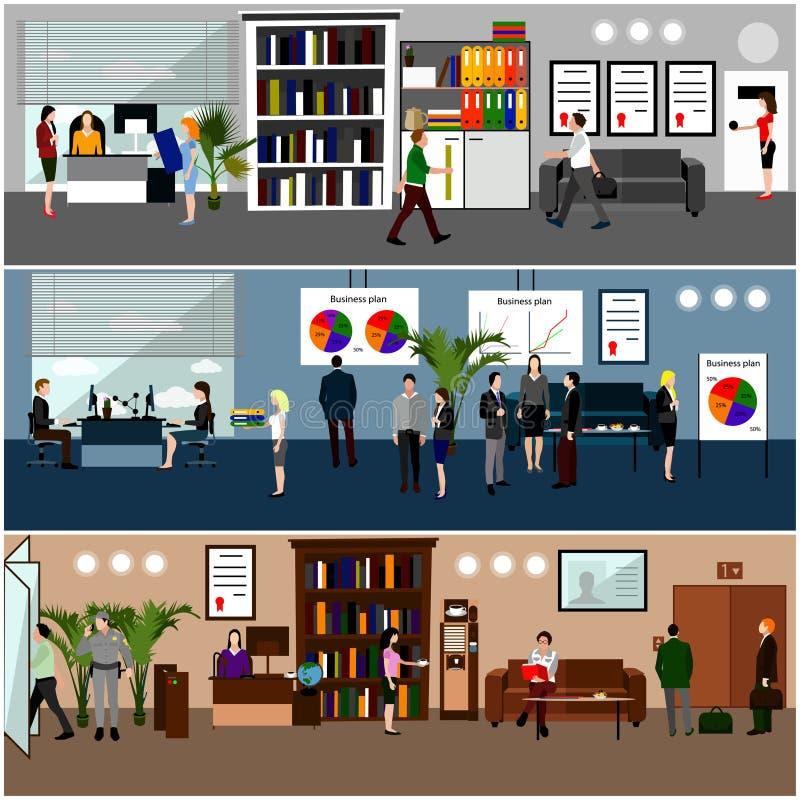 Vlak ontwerp van bedrijfsmensen of beambten stock illustratie