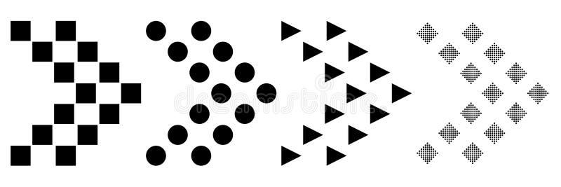 Vlak ontwerp van een reeks pictogrammen van pijlen op een witte achtergrond Vector illustratie Super megaaanbieding voor websites royalty-vrije illustratie