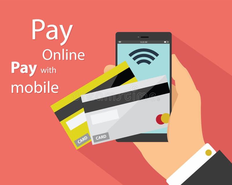 Vlak ontwerp van mobiele betalingstechnologie royalty-vrije illustratie