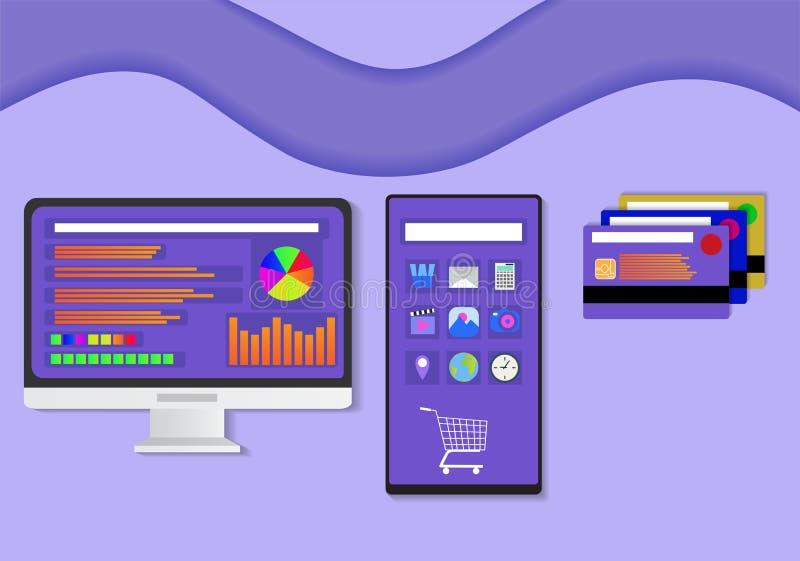 Vlak ontwerp van monitor, smartphone, en creditcard royalty-vrije illustratie