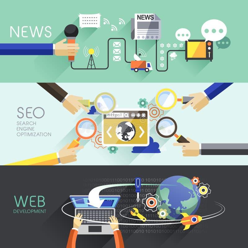 Vlak ontwerp van nieuws, SEO en Web royalty-vrije illustratie