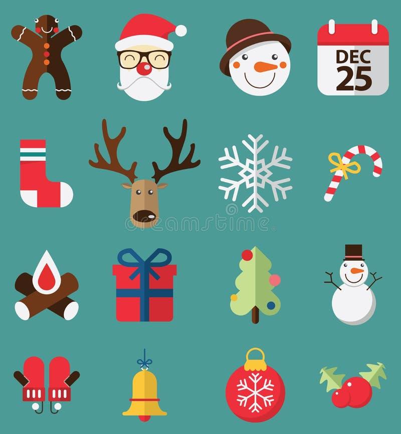 Vlak ontwerp van pictogrammenreeks voor Kerstmis vector illustratie