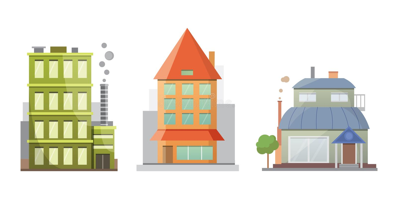 Vlak ontwerp van retro en moderne stadshuizen Oude gebouwen, wolkenkrabbers de kleurrijke plattelandshuisjebouw, koffiehuis stock illustratie