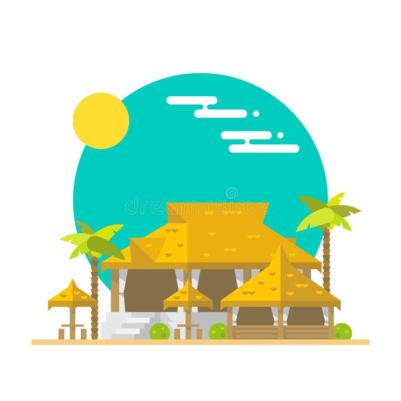 Vlak ontwerp van strandbar en restaurant vector illustratie