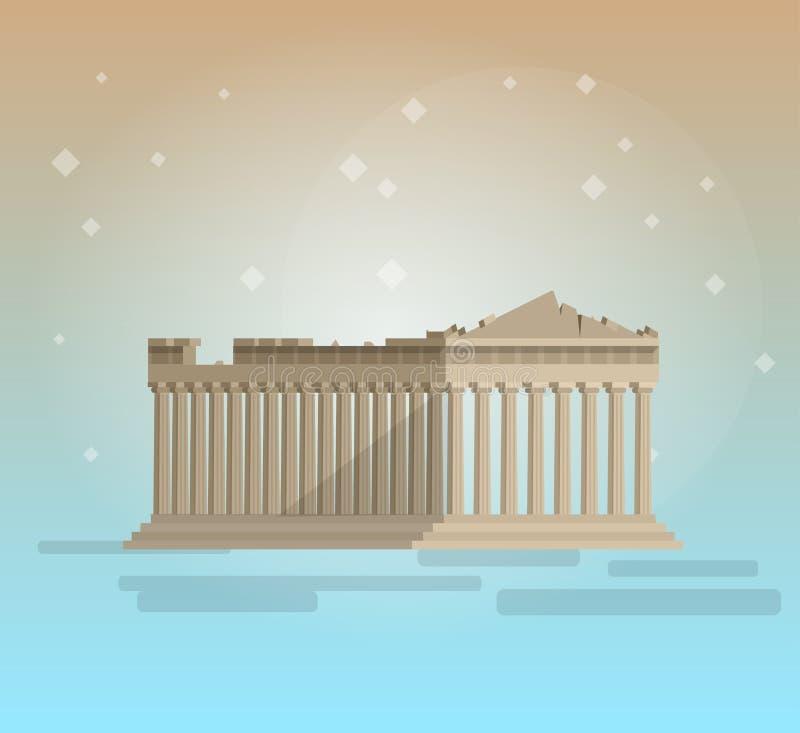 Vlak ontwerp van vector van de parthenon de Griekse illustratie vector illustratie