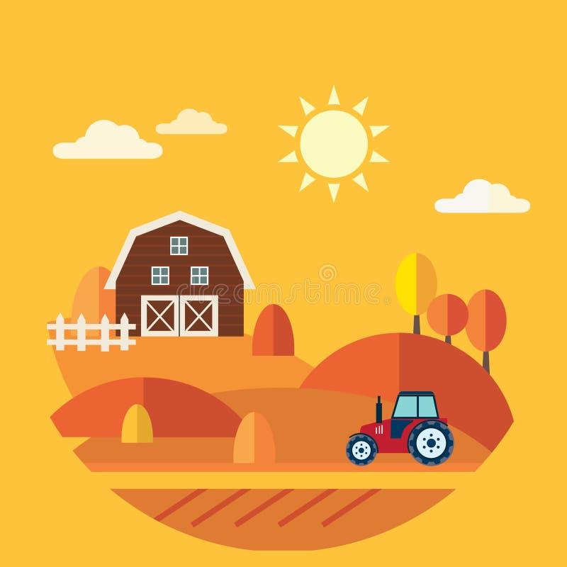 Vlak ontwerp vectorconcept landbouwbedrijflandschap stock illustratie