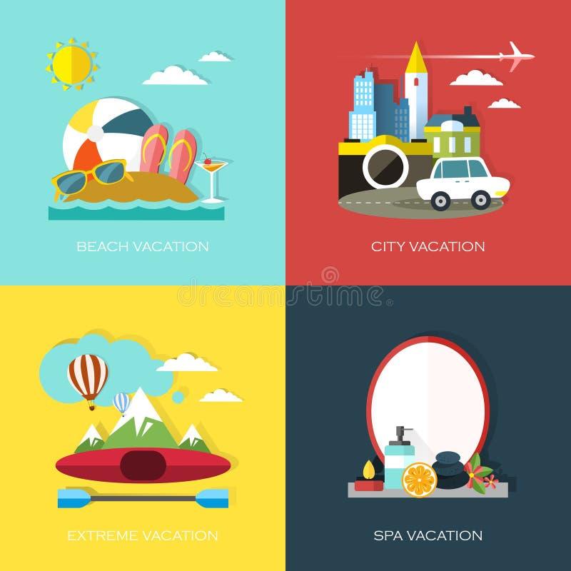 Vlak ontwerp voor verschillende soorten vakantie vector illustratie afbeelding 44064815 - Spa ontwerp ...