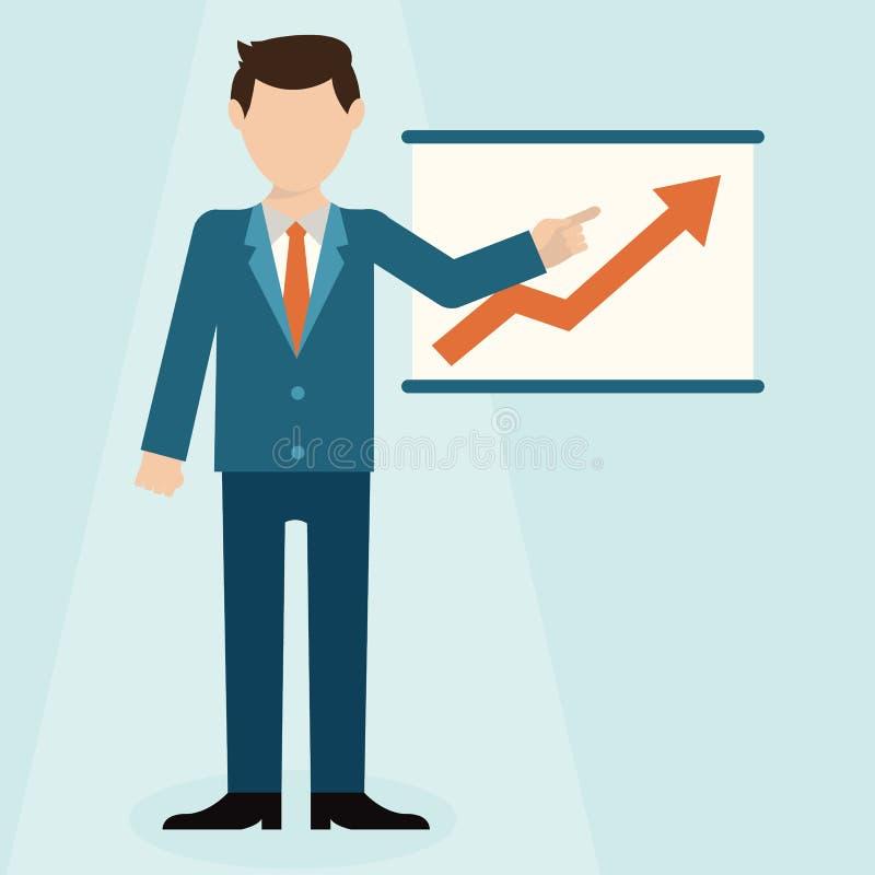 Vlak ontwerpconcept die zakenman ontwikkeling en financiële planning op vergaderingsconferentie voorstellen vector illustratie