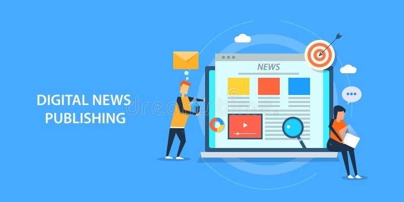 Vlak ontwerpconcept digitaal nieuws die, inhoudspublicatie, marketing publiceren stock illustratie