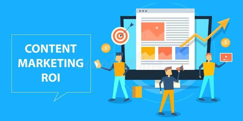 Vlak ontwerpconcept inhoud marketing roi, marketing begroting van gesponsorde inhoud stock illustratie