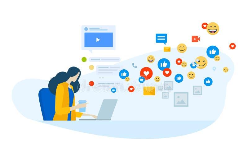 Vlak ontwerpconcept sociale media, Internet-marketing, voorzien van een netwerk, online mededeling royalty-vrije illustratie