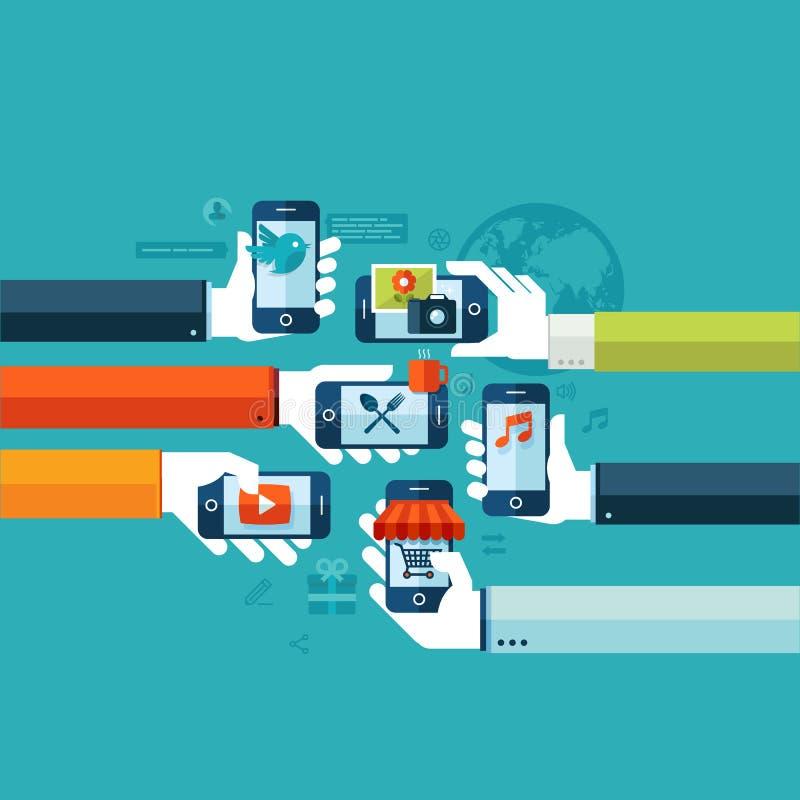 Vlak ontwerpconcept voor de smartphonediensten vector illustratie