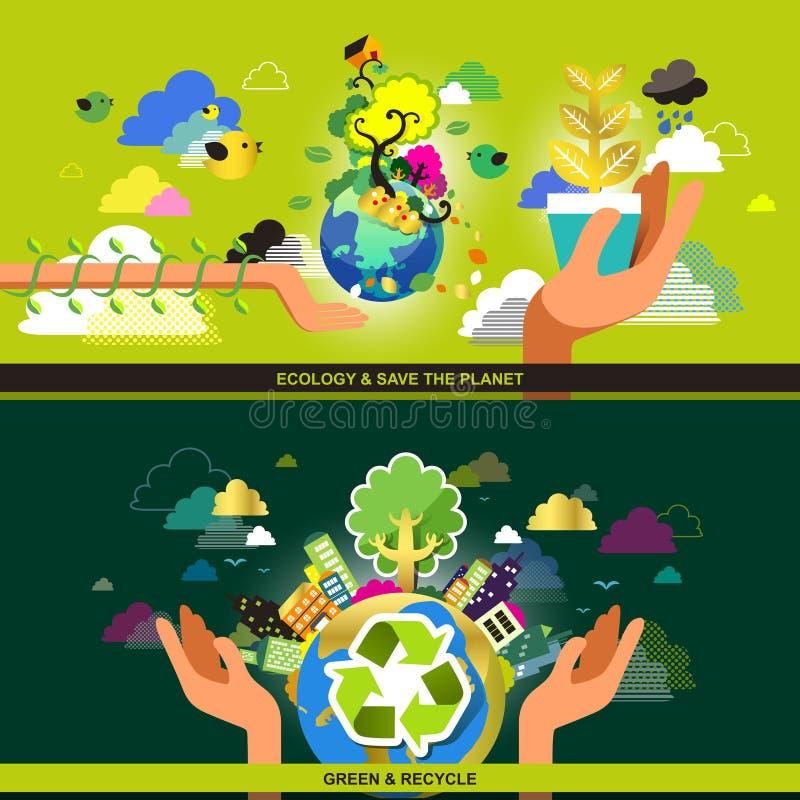 Vlak ontwerpconcept voor ecologie en kringloop royalty-vrije illustratie