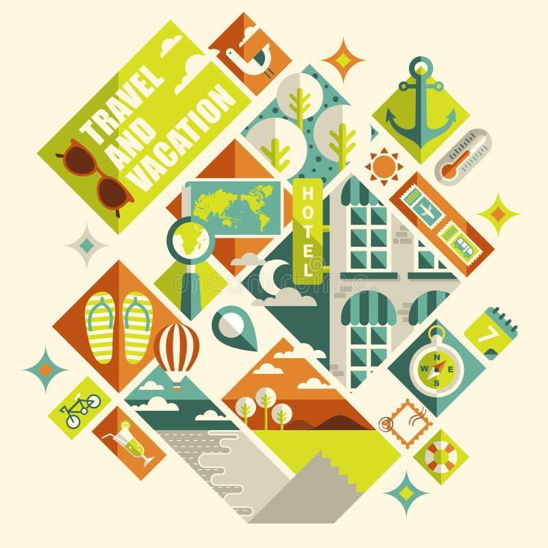 Vlak ontwerpconcept voor reis en vakantie stock illustratie