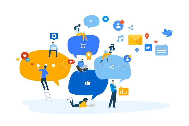 Vlak ontwerpconcept voorzien van een netwerk, online mededeling, Internet-gemeenschap vector illustratie