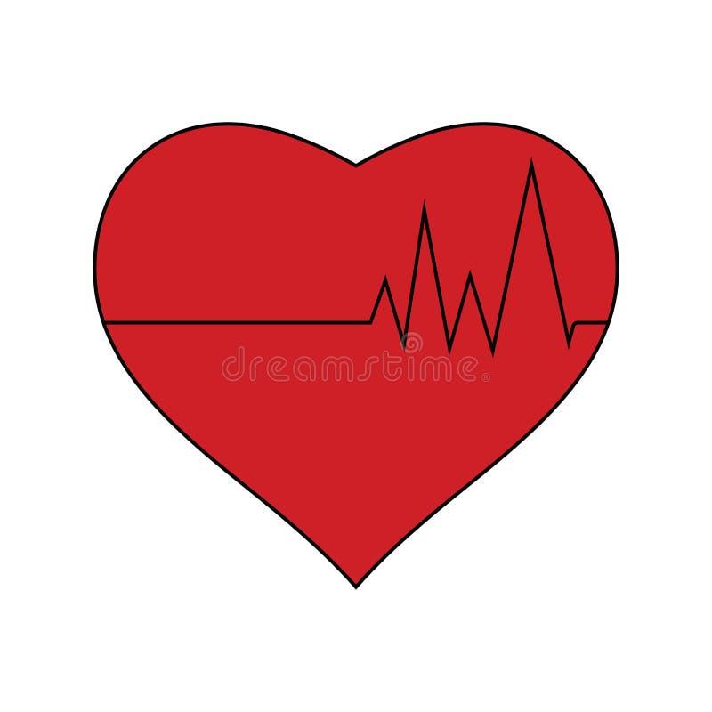 Vlak ontwerppictogram van Hart met cardiodiagram royalty-vrije illustratie