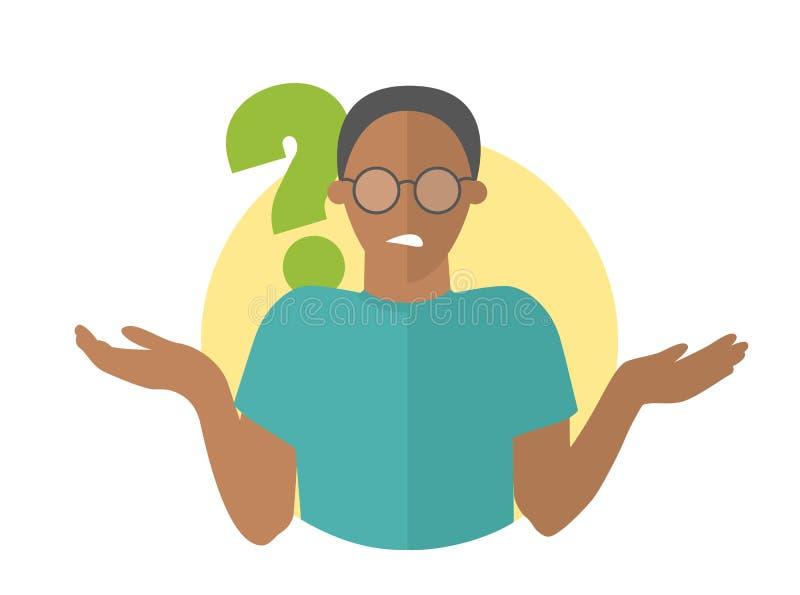 Vlak ontwerppictogram Zwarte knappe mens in glazentwijfels Kerel met een vraagteken Eenvoudig editable geïsoleerde vectorillustra royalty-vrije illustratie