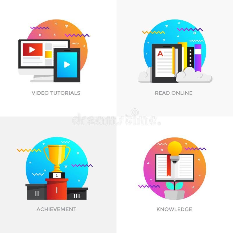 Vlak Ontworpen Concepten - de Videoleerprogramma's, lezen online, Achieveme stock illustratie