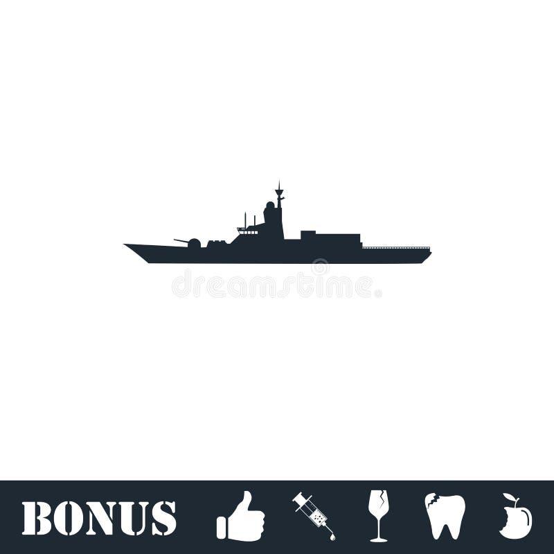 Vlak oorlogsschippictogram stock illustratie