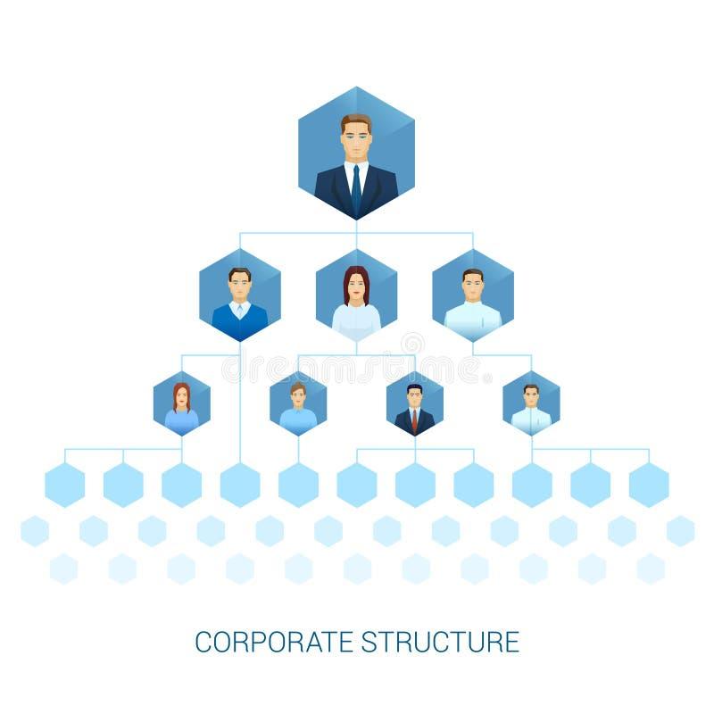 Vlak organisatiediagram van commerciële onderneming vector illustratie