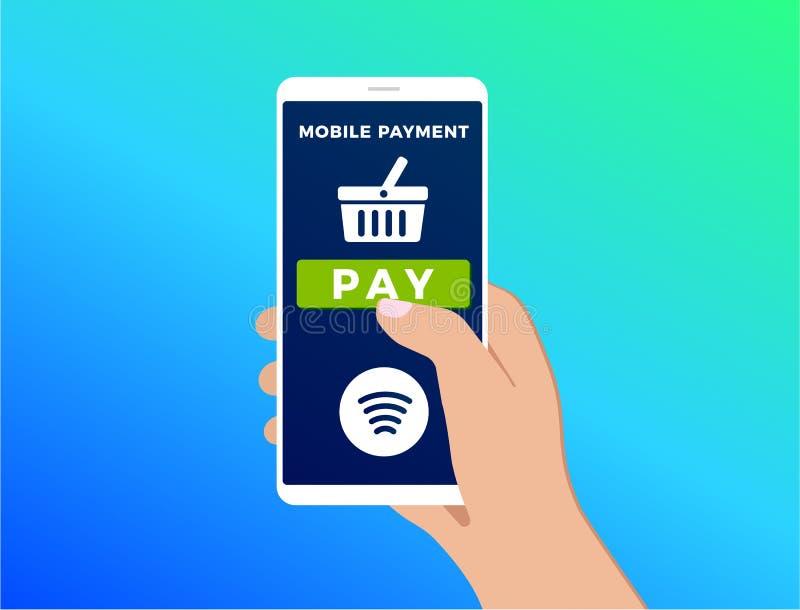 Vlak pictogram - gemakkelijke betalingsopdracht die uw mobiele telefoon met behulp van De hand houdt smartphone op de de betaling stock illustratie