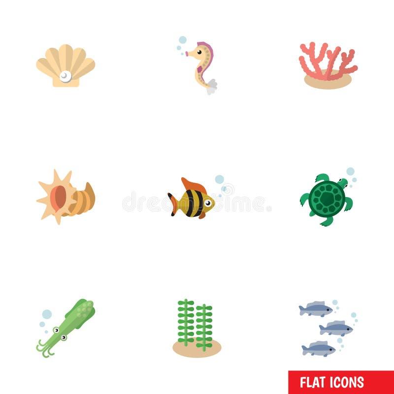 Vlak Pictogram Marine Set Of Conch, Octopus, Zeewier en Andere Vectorvoorwerpen Omvat ook Algen, Alge, Kammosselelementen vector illustratie