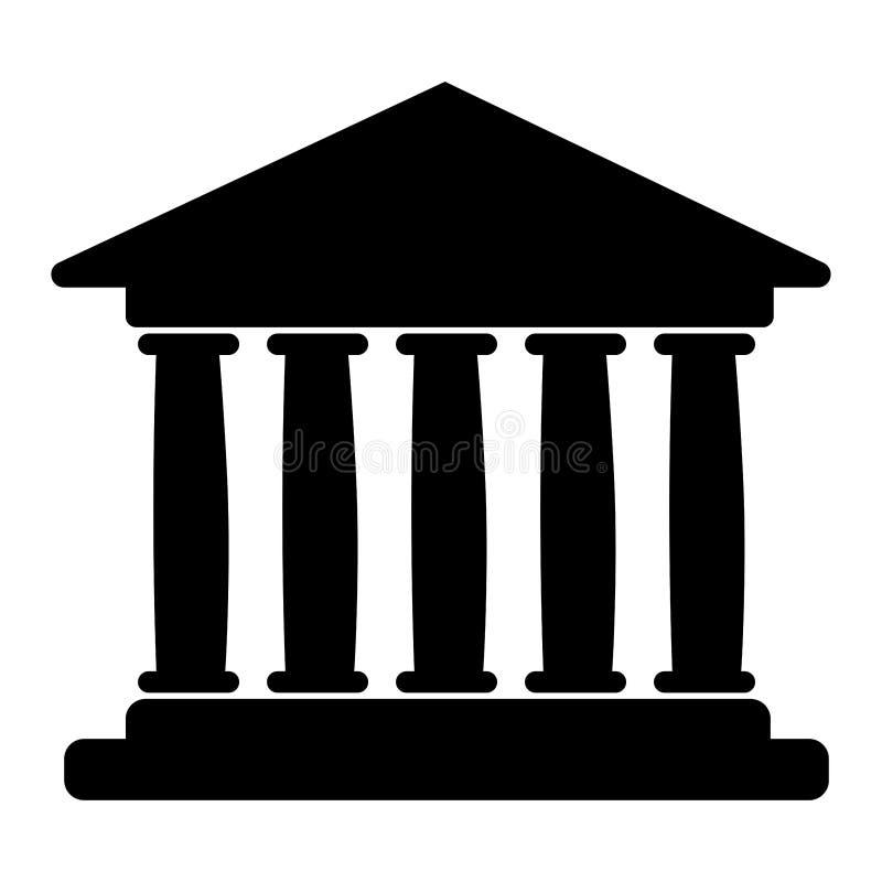 Vlak pictogram van de bankbouw Vector illustratie royalty-vrije illustratie