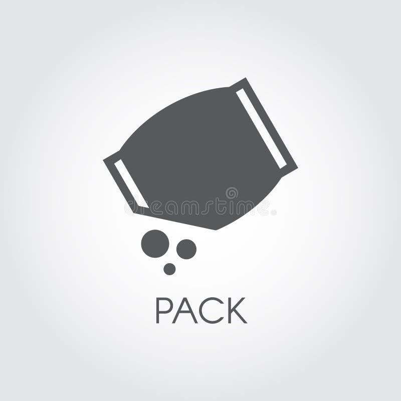 Vlak pictogram van kruidenierswinkelpak met abstract bulkingrediënt Culinair concept Vector zwart embleem vector illustratie