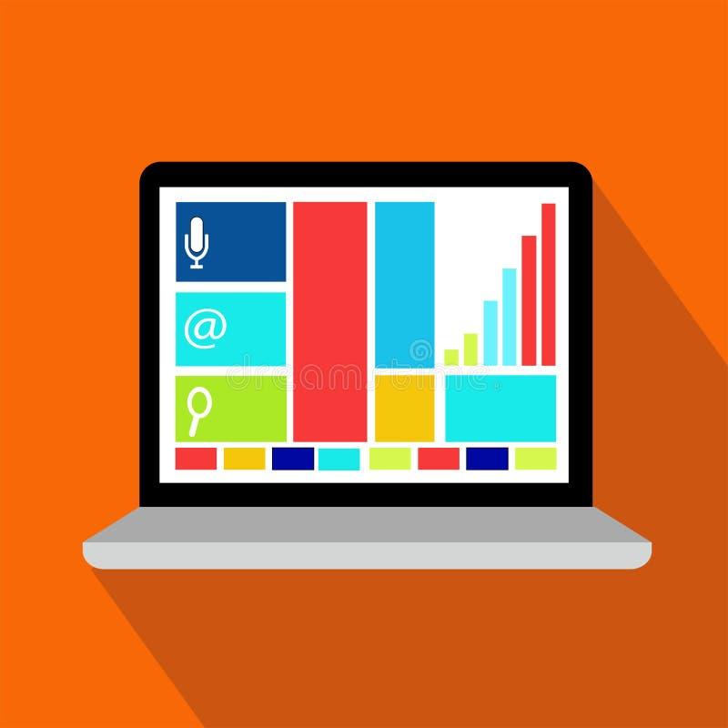 Vlak pictogram van veelkleurige computer of laptop stock illustratie