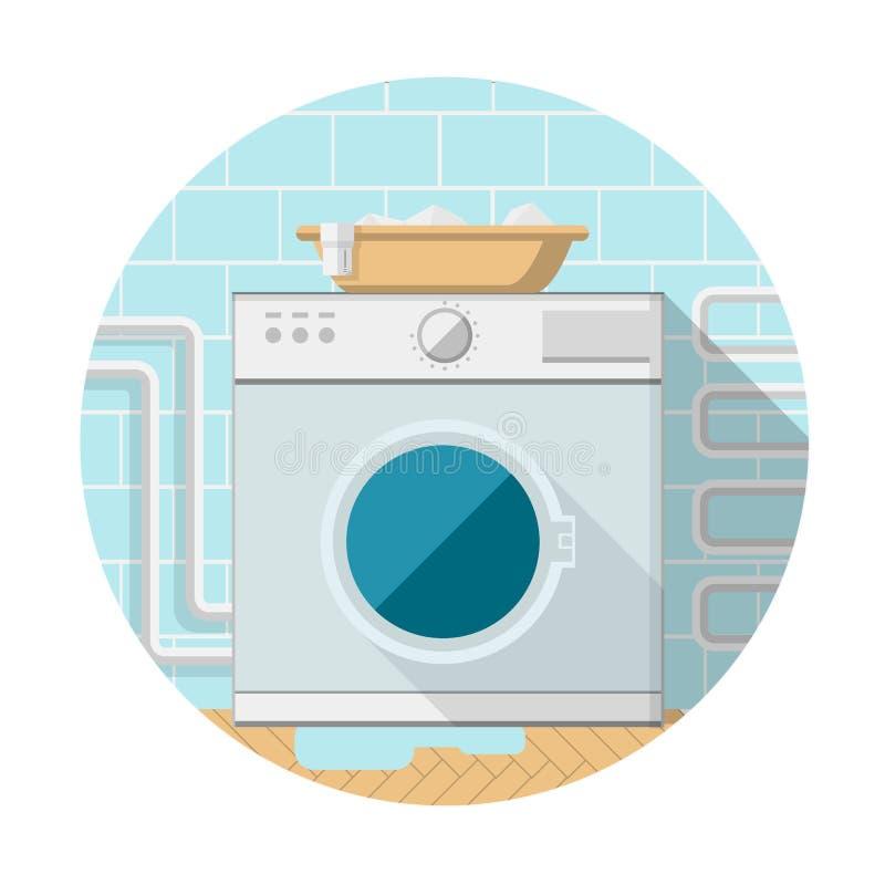 Vlak pictogram van wasmachine in badkamers vector illustratie