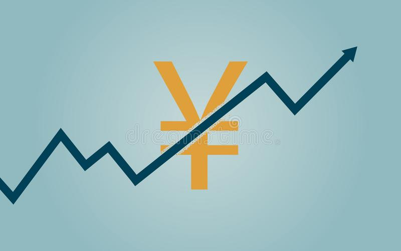 Vlak pictogramontwerp van uptrend lijnpijl het breken door het teken van de yuansmunt op blauwe kleurenachtergrond vector illustratie