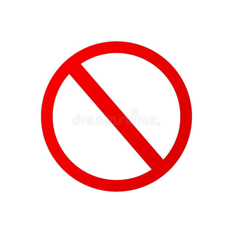 Vlak pictogramrood verboden teken vector illustratie