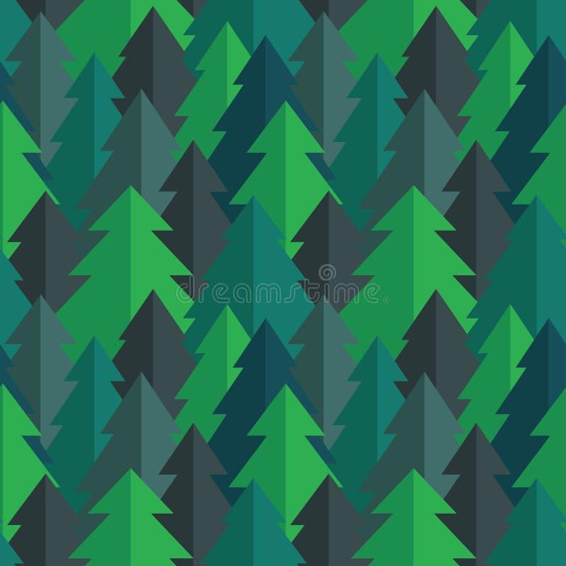 Vlak pijnboom bos naadloos vectorpatroon vector illustratie