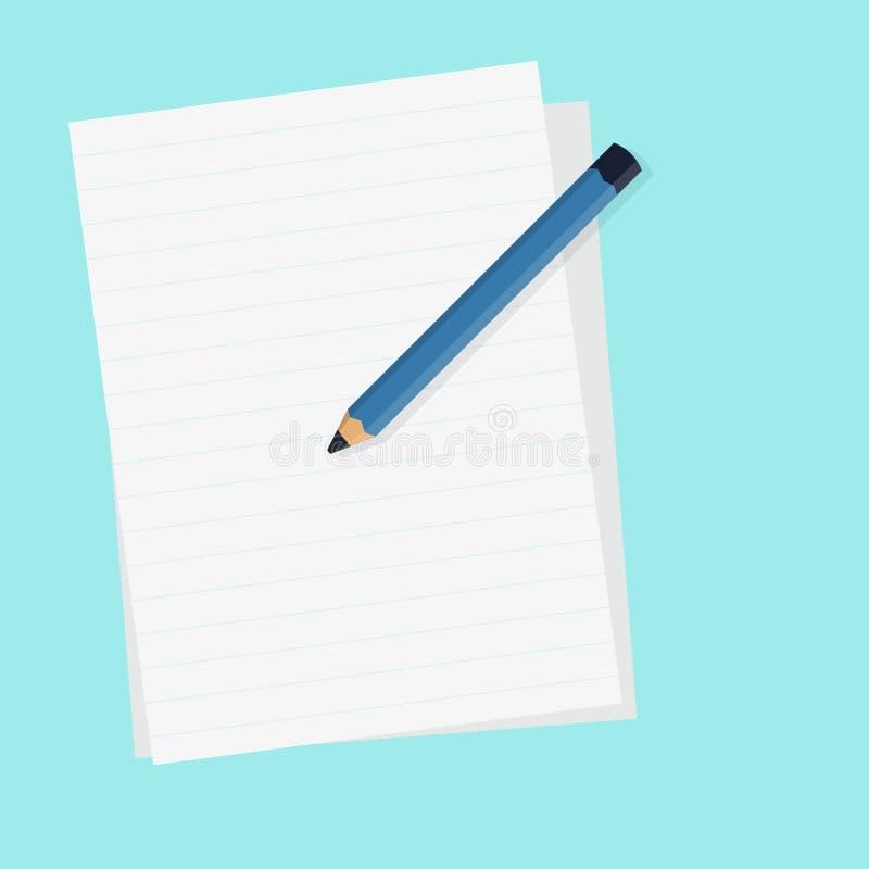 Vlak potlood met leeg document en geïsoleerde blauwe vectorillustratie als achtergrond vector illustratie