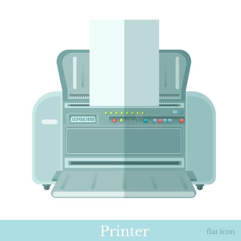 Vlak printerpictogram op wit vector illustratie