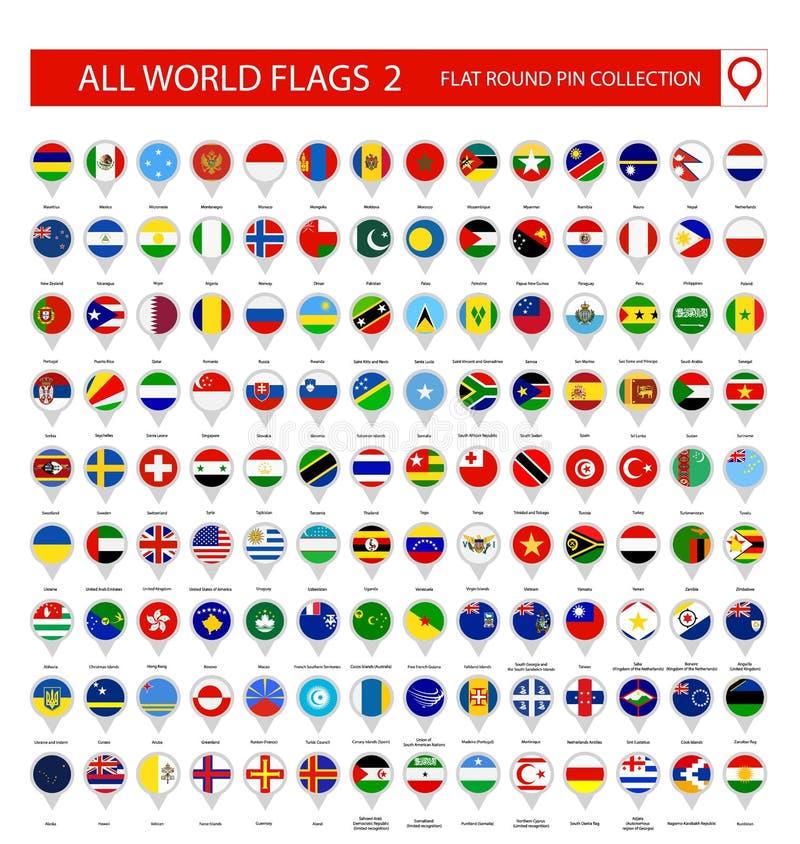 Vlak Rond Pin Icons van Alle Wereldvlaggen Deel 2 royalty-vrije illustratie