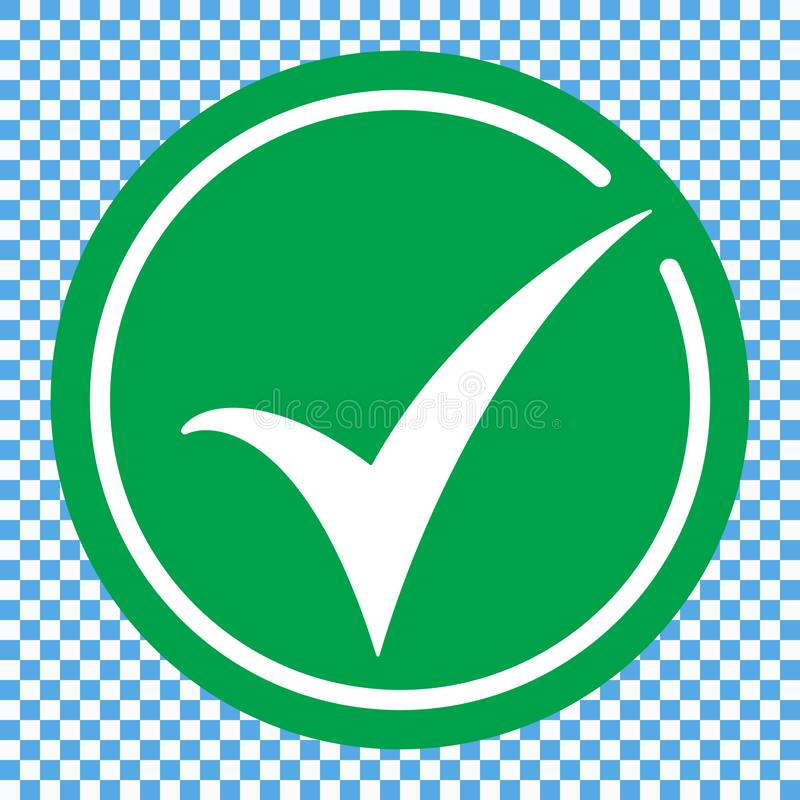 Vlak rond vinkje groen pictogram, knoop Tiksymbool op transparante achtergrond wordt geïsoleerd die vector illustratie