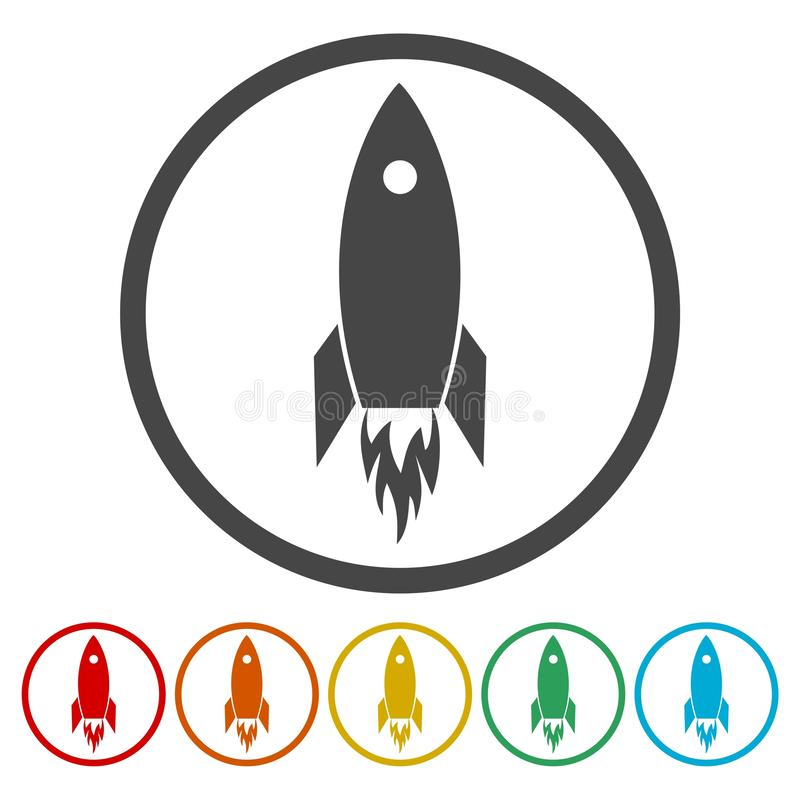 Vlak Ruimteveer Rocket Circle Icon stock illustratie