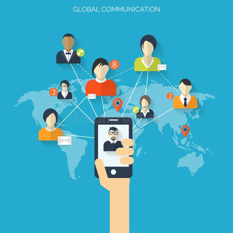 Vlak sociaal media en netwerkconcept Groeten over de Wereld Avatars van het websiteprofiel Verbinding tussen Mensen royalty-vrije illustratie