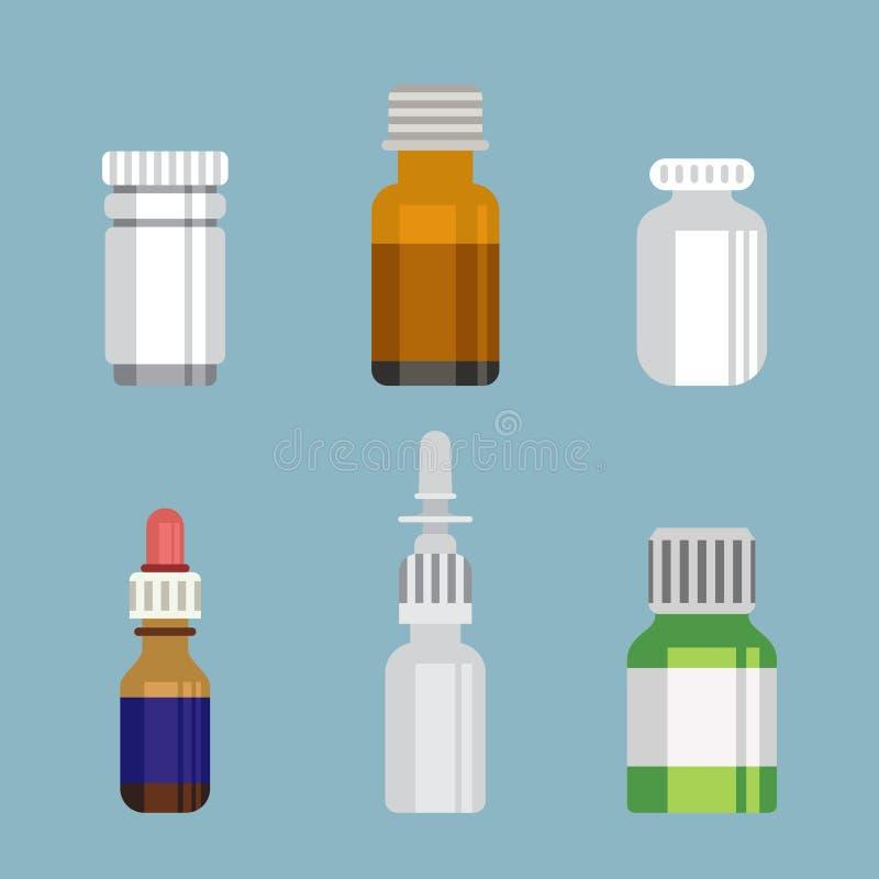 Vlak stijl medisch farmaceutisch flessenglas stock illustratie