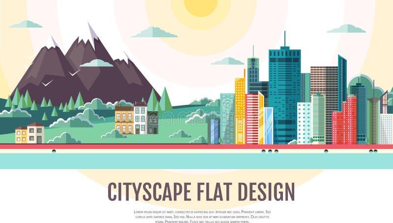 Vlak stijl modern ontwerp van stedelijke stadslandschap en bergen vector illustratie