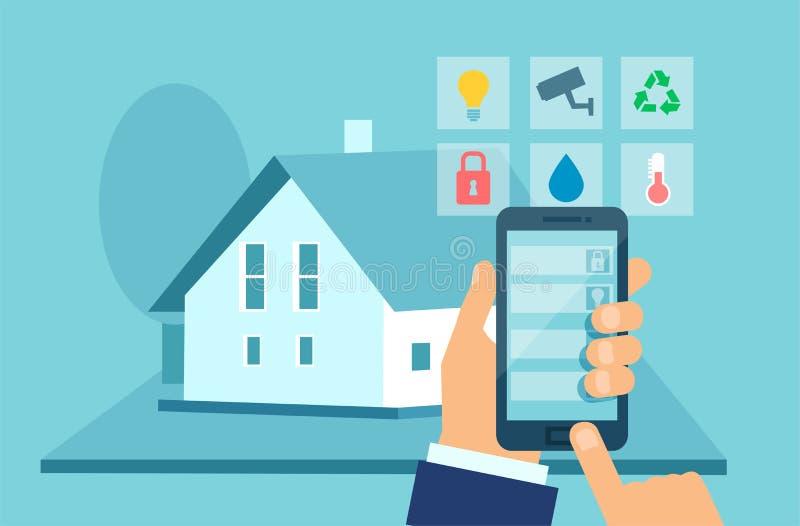 Vlak stijl vectorconcept het slimme systeem van de huistechnologie met gecentraliseerde controle op mobiel apparaat royalty-vrije illustratie