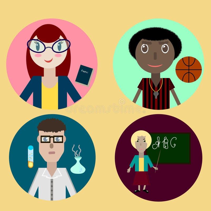 Vlak stijl vectorpictogram met schoolleraren stock illustratie