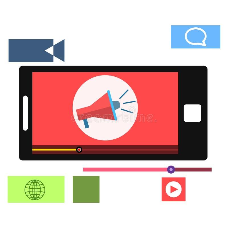 Vlak stijl video marketing concept vector illustratie